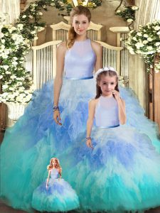 Discount Multi-color Ball Gowns High-neck Sleeveless Tulle Floor Length Backless Ruffles Sweet 16 Quinceanera Dress