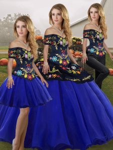 High End Royal Blue Quinceanera Dress Military Ball and Sweet 16 and Quinceanera with Embroidery Off The Shoulder Sleeveless Lace Up