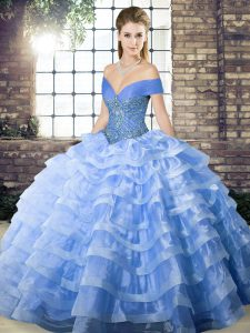 Elegant Off The Shoulder Sleeveless Quinceanera Gowns Brush Train Beading and Ruffled Layers Blue Organza