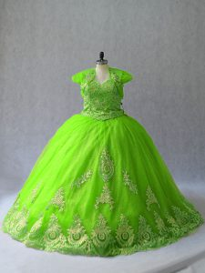Sleeveless Appliques Lace Up Quinceanera Dresses