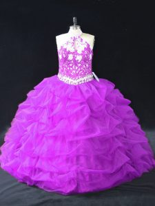 Flirting Purple Ball Gowns Halter Top Sleeveless Organza Floor Length Backless Beading and Pick Ups 15 Quinceanera Dress