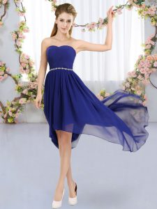 Enchanting Royal Blue Quinceanera Court of Honor Dress Wedding Party with Beading Strapless Sleeveless Lace Up