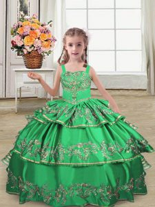 Green Ball Gowns Embroidery and Ruffled Layers Pageant Gowns For Girls Lace Up Satin Sleeveless Floor Length