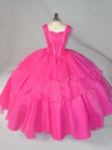 Hot Pink Ball Gowns Organza Straps Sleeveless Beading Floor Length Lace Up 15 Quinceanera Dress