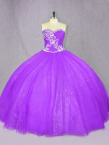 Ball Gowns Quince Ball Gowns Lavender Sweetheart Tulle Sleeveless Floor Length Lace Up