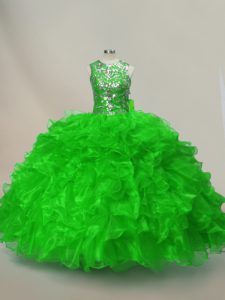 Dazzling Lace Up Quinceanera Gowns Ruffles and Sequins Sleeveless Floor Length