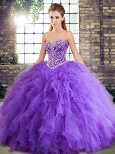 Traditional Lavender Sleeveless Beading and Ruffles Floor Length Quinceanera Dresses