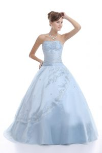 Fantastic Embroidery Quinceanera Gown Light Blue Lace Up Sleeveless Floor Length