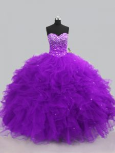 Captivating Ball Gowns Sweet 16 Dress Purple Sweetheart Tulle Sleeveless Floor Length Lace Up