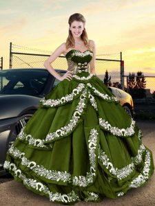 Olive Green Lace Up Vestidos de Quinceanera Embroidery and Ruffled Layers Sleeveless Floor Length