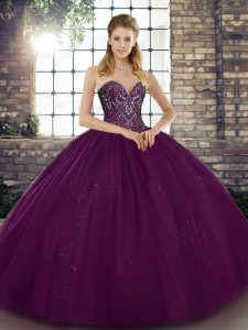High End Tulle Sweetheart Sleeveless Lace Up Beading Ball Gown Prom Dress in Dark Purple