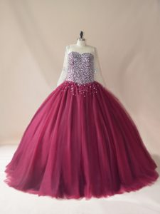 Tulle Scoop Long Sleeves Brush Train Lace Up Beading Sweet 16 Dresses in Burgundy