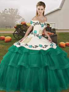 Turquoise Sleeveless Tulle Brush Train Lace Up Quinceanera Gowns for Military Ball and Sweet 16 and Quinceanera