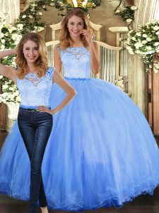 Blue Sleeveless Tulle Clasp Handle Quinceanera Gown for Military Ball and Sweet 16 and Quinceanera