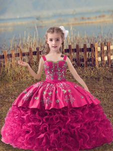 New Style Hot Pink Ball Gowns Embroidery Little Girls Pageant Gowns Lace Up Fabric With Rolling Flowers Sleeveless