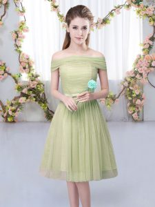 Knee Length Olive Green Dama Dress for Quinceanera Off The Shoulder Short Sleeves Lace Up