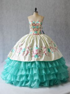 High Quality Sweetheart Sleeveless Lace Up Vestidos de Quinceanera Aqua Blue Satin and Organza