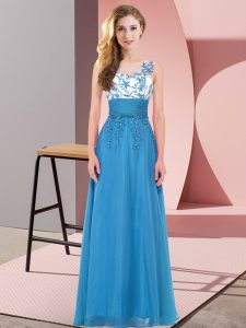 Captivating Appliques Damas Dress Blue Backless Sleeveless Floor Length