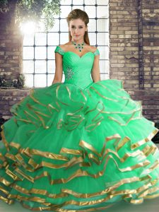 Glittering Turquoise Ball Gowns Tulle Off The Shoulder Sleeveless Beading and Ruffled Layers Floor Length Lace Up Sweet 16 Dresses