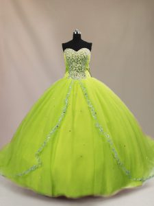 Pretty Sleeveless Beading Lace Up Quinceanera Dresses with Court Train