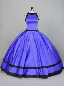 Custom Made Purple Sleeveless Floor Length Ruching Zipper Quinceanera Gowns