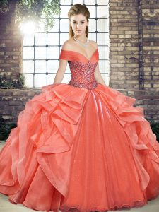 Flirting Orange Red Off The Shoulder Lace Up Beading and Ruffles Vestidos de Quinceanera Sleeveless