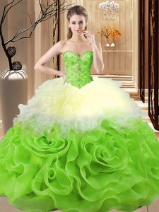 Custom Design Beading and Ruffles Quinceanera Gowns Multi-color Lace Up Sleeveless Floor Length