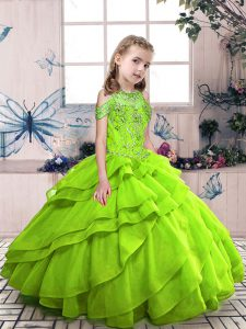 Organza Lace Up Little Girl Pageant Dress Sleeveless Floor Length Beading