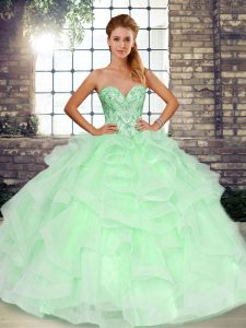 Great Sweetheart Sleeveless Lace Up 15 Quinceanera Dress Apple Green Tulle