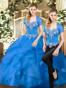 Blue Sweetheart Lace Up Beading and Ruffles Quinceanera Dresses Sleeveless