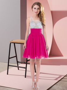 Adorable Scoop Sleeveless Side Zipper Quinceanera Court of Honor Dress Fuchsia Chiffon