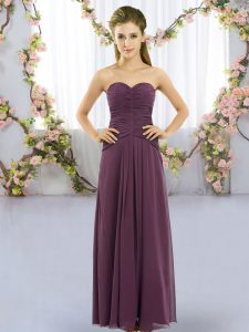Floor Length Lace Up Quinceanera Court Dresses Dark Purple for Wedding Party with Ruching