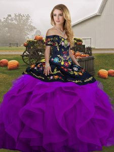 Embroidery and Ruffles 15th Birthday Dress Black And Purple Lace Up Sleeveless Floor Length