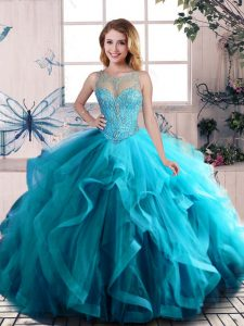 Aqua Blue Ball Gowns Beading and Ruffles Ball Gown Prom Dress Lace Up Tulle Sleeveless Floor Length