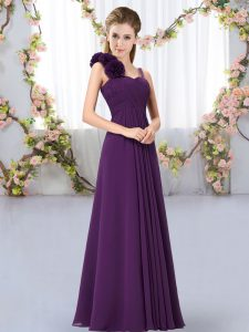 Fantastic Dark Purple Lace Up Straps Hand Made Flower Quinceanera Court of Honor Dress Chiffon Sleeveless