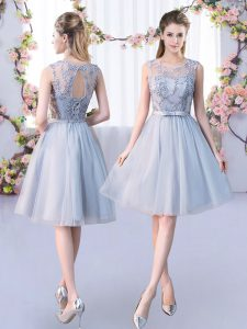 Knee Length Empire Sleeveless Grey Court Dresses for Sweet 16 Lace Up