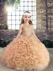 Beading Little Girls Pageant Gowns Peach Lace Up Sleeveless Floor Length