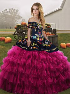 7e3154d9175  431.22  258.68  Cute Fuchsia Sleeveless Organza Lace Up Quinceanera Gowns  for Military Ball and Sweet 16 and Quinceanera