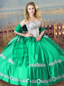 New Arrival Turquoise Sleeveless Satin Lace Up Ball Gown Prom Dress for Sweet 16 and Quinceanera