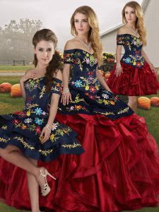 Classical Floor Length Red And Black Sweet 16 Dresses Organza Sleeveless Embroidery and Ruffles