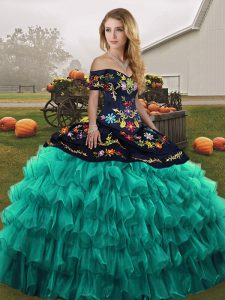 Turquoise Sleeveless Organza Lace Up Sweet 16 Dress for Military Ball and Sweet 16 and Quinceanera