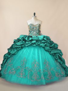 Turquoise Sweet 16 Quinceanera Dress Sweet 16 and Quinceanera with Beading and Pick Ups Sweetheart Sleeveless Brush Train Lace Up