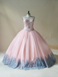 Pink Sleeveless Floor Length Beading and Appliques Lace Up 15 Quinceanera Dress