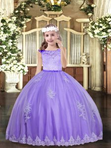 Excellent Sleeveless Lace and Appliques Zipper Child Pageant Dress