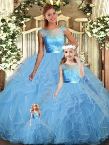 Fitting Floor Length Baby Blue Quinceanera Gown Scoop Sleeveless Backless