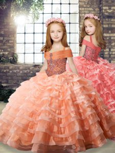 Elegant Orange Organza Lace Up Little Girls Pageant Dress Long Sleeves Brush Train Beading and Ruffled Layers