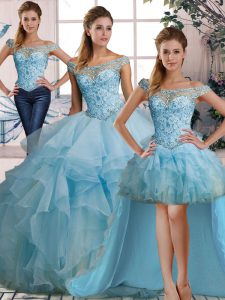 Light Blue Sleeveless Organza Lace Up Quinceanera Dress for Military Ball and Sweet 16 and Quinceanera