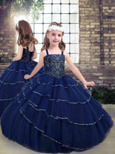 Navy Blue Sleeveless Tulle Lace Up Kids Formal Wear for Party and Military Ball and Wedding Party