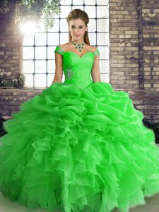 Modest Floor Length Green Quinceanera Dress Organza Sleeveless Beading and Ruffles and Pick Ups