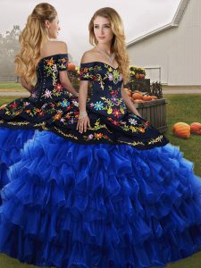 Fancy Blue And Black Lace Up Quinceanera Gowns Embroidery and Ruffled Layers Sleeveless Floor Length